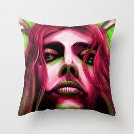 FaceonGreen Throw Pillow