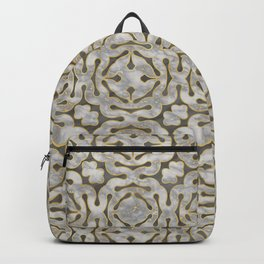 Grey and gold marble mosaic pattern Backpack