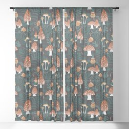 Mushroom Forest Gnomes Sheer Curtain