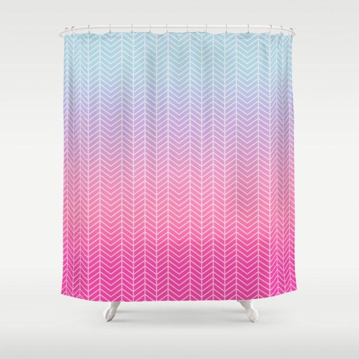 Neon Pink Blue Chevron Shower Curtain By Nicnak85