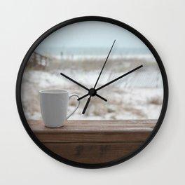 Cuppa at the Beach Wall Clock