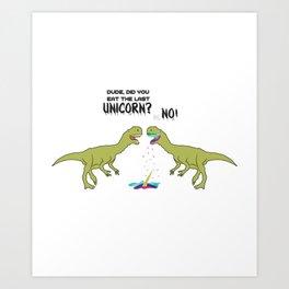 The Last Unicorn TRex Eaten Dino Gift Art Print