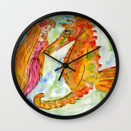 Sarah Mermaid and Kenneth Seahorse Wall Clock