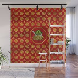 Golden Tortoise / Turtle Feng Shui on red Wall Mural