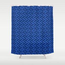 Vintage Blue Japanese Sayagata Shower Curtain