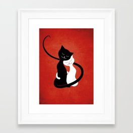 White And Black Cats In Love (red) Framed Art Print