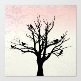 Tree & Birds Silhouette Damask Backdrop Canvas Print