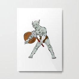 Orc Warrior Hold Club Shield Cartoon Metal Print