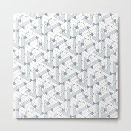 Triangle Optical Illusion Gray Lines Medium Metal Print