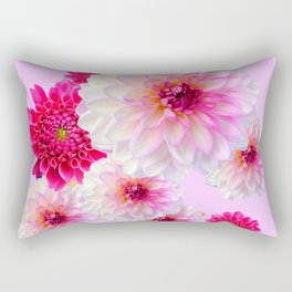 FUCHSIA CERISE-WHITE DAHLIA FLOWERS GARDEN ART Rectangular Pillow
