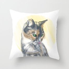 Green Eyed Cat Throw Pillow