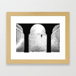 Man in Snow Framed Art Print