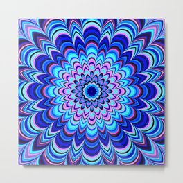 Neon blue striped mandala Metal Print