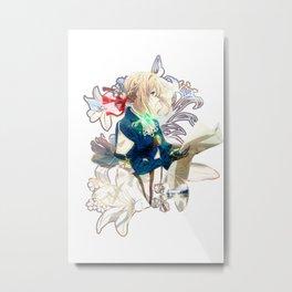 Violet Evergarden flowers print Metal Print
