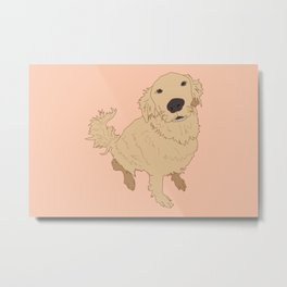 Golden Retriever Love Dog Illustrated Print Metal Print