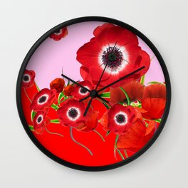 RED TIDE OF RED SPRING ANEMONE  GARDEN  FLORAL Wall Clock