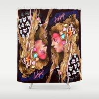 artpop Shower Curtains featuring Neon Artpop by Helen Green