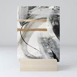 Armor [7]: a bold minimal abstract mixed media piece in gold, black and white Mini Art Print