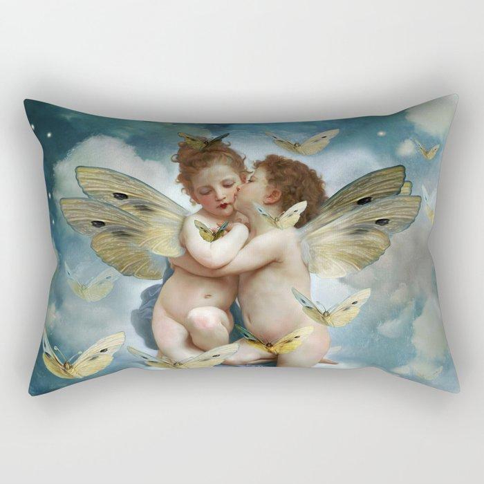 """Angels in love in heaven with butterflies"" Rectangular Pillow"