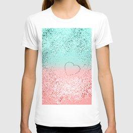 Summer Vibes Glitter Heart #1 #coral #mint #shiny #decor #art #society6 T-shirt