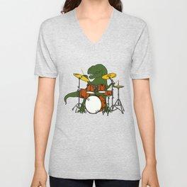 T-Rex Drummer Unisex V-Neck