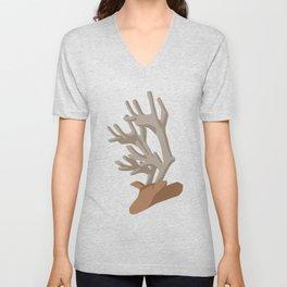Deer bending with Antlers in brown Unisex V-Neck