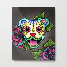 Smiling Pit Bull in White - Day of the Dead Pitbull Sugar Skull Metal Print