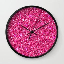 Pink Glitter Wall Clock