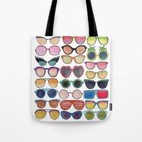sunglasses Tote Bags featuring Sunglasses by Veronique de Jong