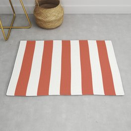 Dark coral red - solid color - white vertical lines pattern Rug