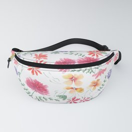 Bright flowers on a white background. Fanny Pack