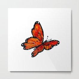 Orange Watercolor Butterfly Design Metal Print