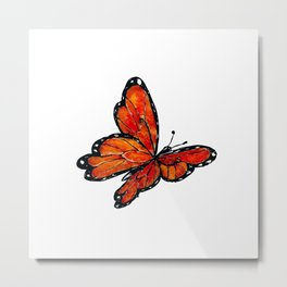 Orange Watercolor Butterfly Design Metal Print