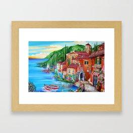 Via Positano Italian Village by the Lake in Tuscany Framed Art Print