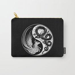 White and Black Dragon Phoenix Yin Yang Carry-All Pouch