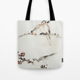 Three Birds Perched on Branches - Hokusai Tote Bag