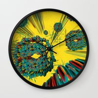 cyberpunk Wall Clocks featuring Coral Reef by Obvious Warrior