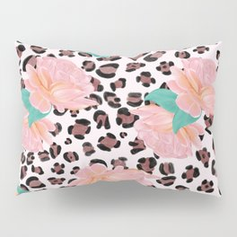 Leopard and watercolor roses pattern  Pillow Sham