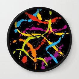 Splattered Rainbow [BLACK] Wall Clock