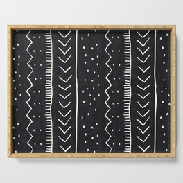Moroccan Stripe in Black and White Serving Tray