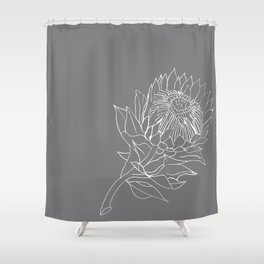 King Protea Outline - Grey and White Shower Curtain