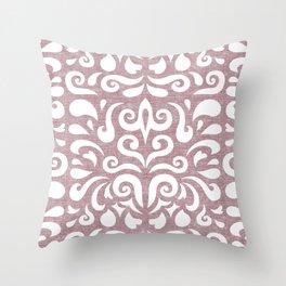 cadence damask - mauve Throw Pillow