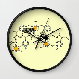 Bees making honey on macromolecular structure as a bee house  Wall Clock