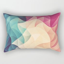 Geometry Triangle Wave Multicolor Mosaic Pattern - (HDR - Low Poly Art) - FULL Rectangular Pillow