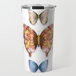 Butterfly Taxidermy 9 // Beautiful Mandala Detailed Wings Design // Orange Green Brown Travel Mug