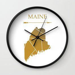 Maine In Gold Wall Clock