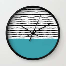 Watercolor Lines turquoise black Wall Clock