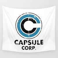 dragonball Wall Tapestries featuring Capsule Corp Vintage bright by Karlangas
