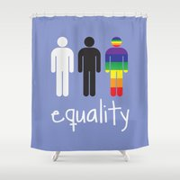equality Shower Curtains featuring Equality pride by Tony Vazquez