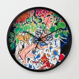 Lion, Cheetah and Tiger Still Life - Wildflowers in Wild Cat Vase After Matisse Wall Clock